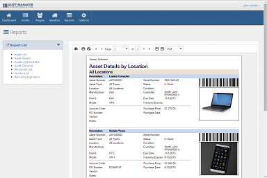 You can view, print, and download reports from the Reports page.