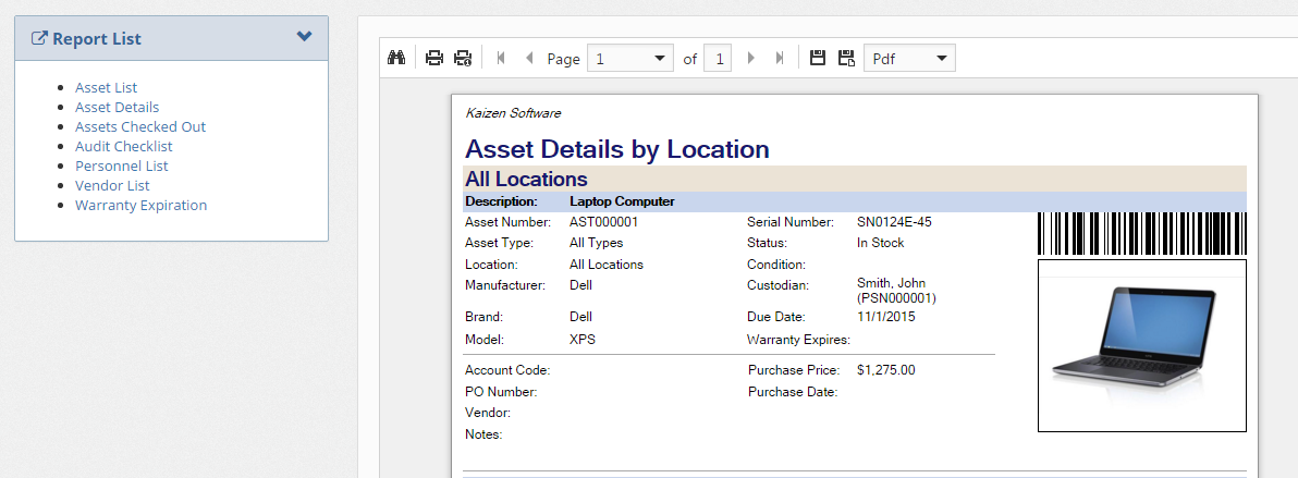 Asset Reports